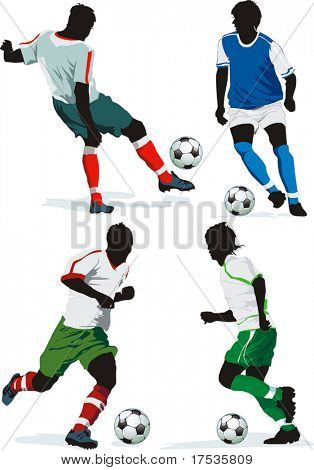 Soccer Action Players. Four figures on insulated background. Sports design elements. Original Vector illustration sports series. Classical football silhouettes for designers.