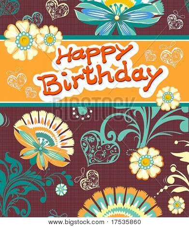 Abstract Elegance Greeting card design. Happy Birthday background with flowers. Beautiful vector illustration texture
