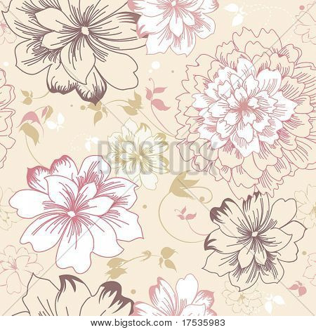 Abstract Elegance seamless pink floral pattern. Beautiful flower vector illustration texture