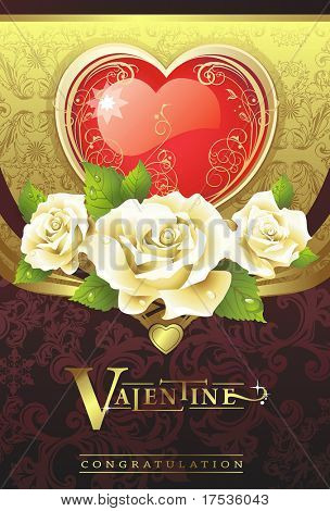 Abstract Classical congratulation card with glossy red heart and roses. Vector frame background with Place for your text. Golden illustration Saint Valentine's Day.