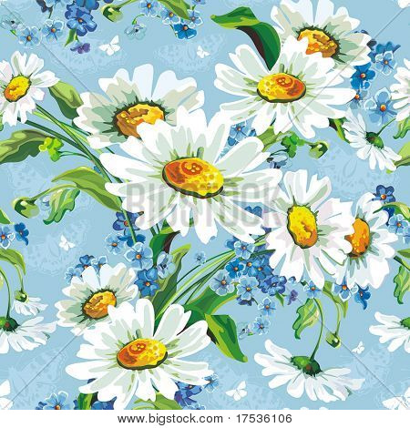 Stylish beautiful bright floral seamless pattern. Abstract Elegance vector illustration texture with daisywheels.