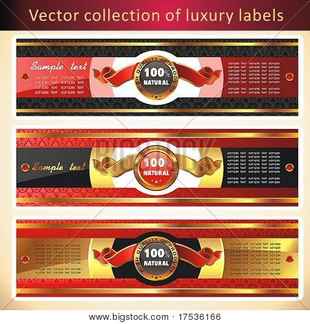 Vintage Labels Collection for a product_5. Sticker template with design elements Set of golden vector illustration tags.