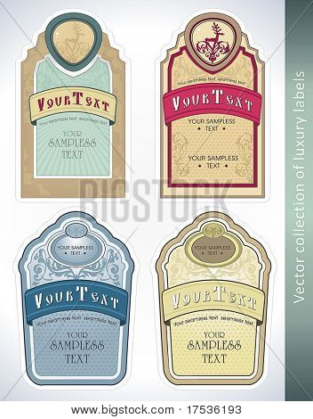 Vintage Labels Collection for a product. Sticker template with design elements Set of decorative vector illustration tags.