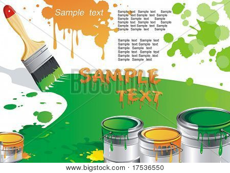 Stylish Vector Illustration of paint buckets with paint brush on isolated white background. Strip of colors paint with place where.