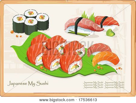 Maki Sushi - Roll made of Cucumber and Fresh Salmon outside. Seafood set, vector illustration and other traditional Japanese food.