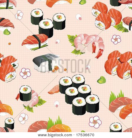 Beautiful flower Japan Seamless Pattern and other traditional Japanese food, vector illustration texture