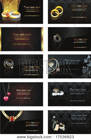 Vector Illustration Business Card for jewelry or beauty. Abstract color element set of corporate templates.