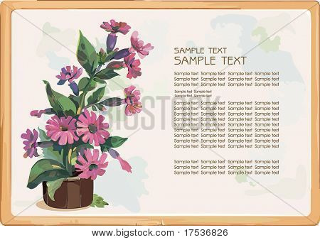 Flowers in a pot on light background, drawing on a postcard. Elegance retro vector illustration with a place for your text.