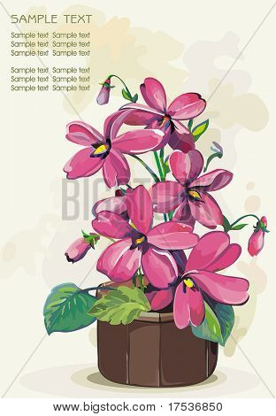 Pink flower in a pot on light background, Elegance retro vector illustration.