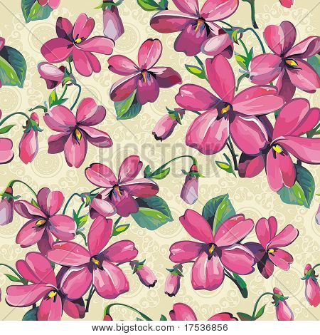 Excellent Beautiful flower seamless pattern. Abstract Vivid repeating floral background, vector illustration texture.