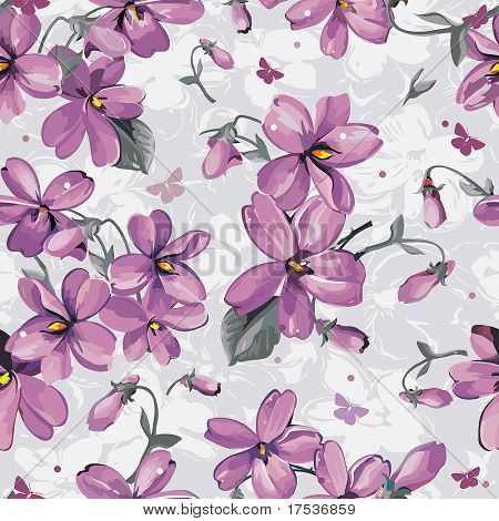 Elegance Seamless color violet pattern on floral background, vector illustration