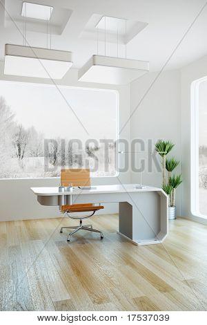 diseño de interiores de la oficina moderna, render 3d