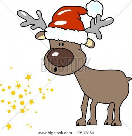 reindeer blowing magic stars