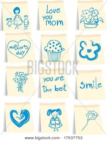 mother`s day icon set