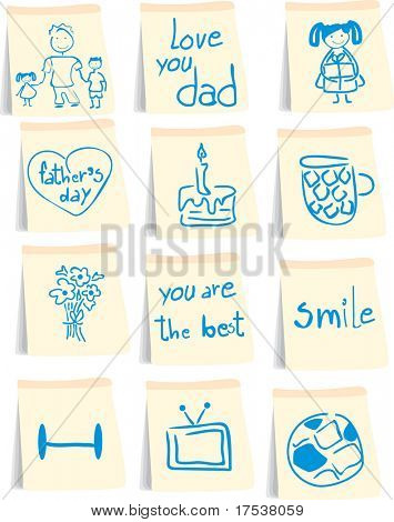 father`s day icon set