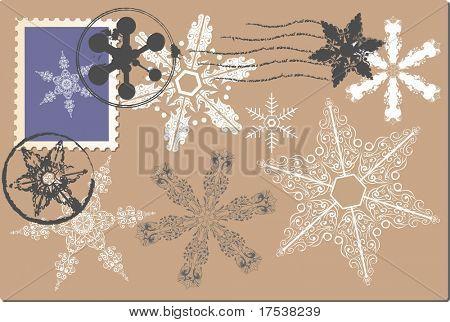 snowflake postage set