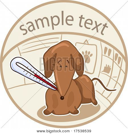 vet icon set - dachshund with temperature