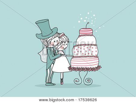wedding set - couple cutting yummy wedding cake