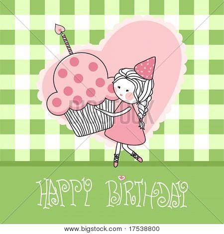 happy birthday greeting card with girl with cupcake