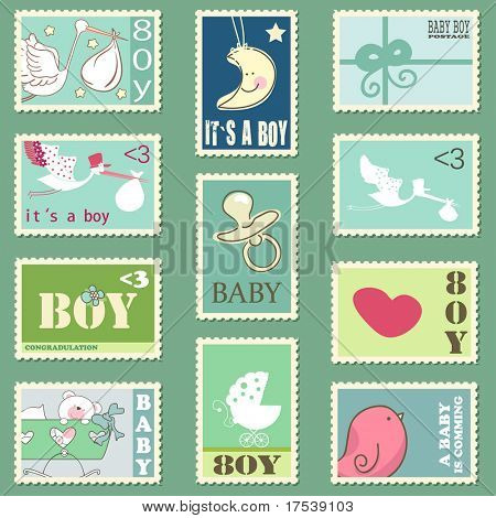 baby boy postage stamps