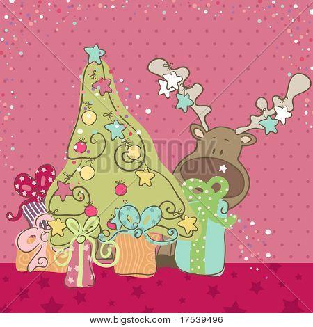 lindo Reno escondiéndose detrás del árbol de Navidad
