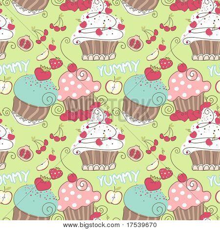 cupcake seamless pattern