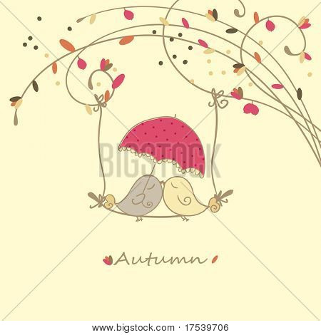 autumn card with birds on a swing