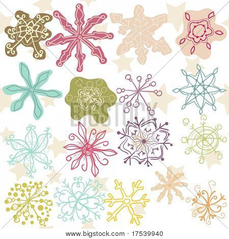 set of doodle colorful snowflakes