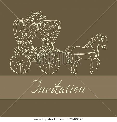 invitation card with carriage