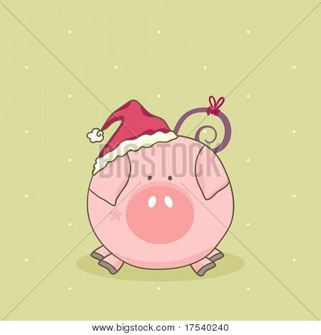 cute pig with santa hat