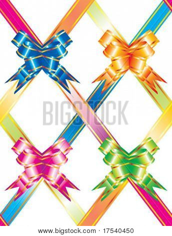 Vector background with multicolored ribbons