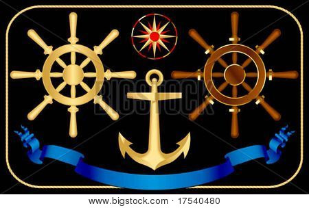 Vector steering-wheels with a anchor and a wind rose