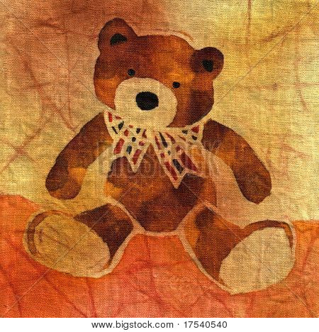 Image of my artwork with a teddy bear with a bow