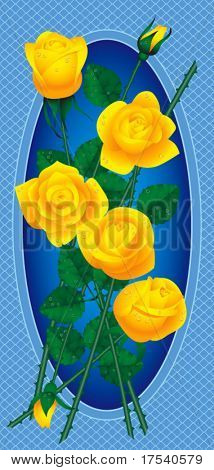 Vector card with bouquet of yellow roses with drops of dew