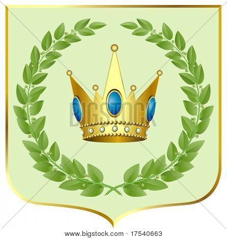 Vector green laurels with a gold crown on a escutcheon