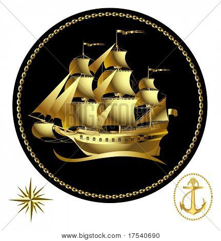 Raster version of vector gold sailing ship with a wind rose and an anchor (contain the Clipping Path of all objects)
