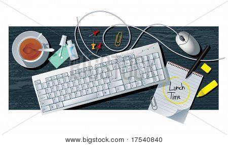Raster version of vector office still life with keyboard (contain the Clipping Path of all objects)