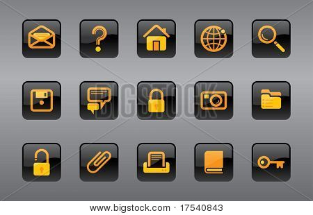 Raster version of vector icons website and Internet icons (contain the Clipping Path of all objects)