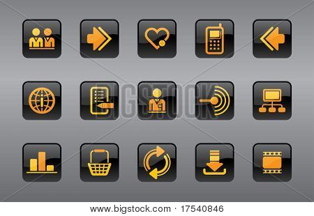 Raster version of vector website and internet icons (contain the Clipping Path of all objects)