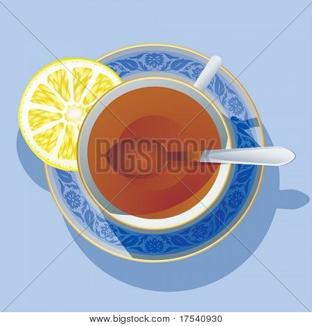 Vector image of the cup of tea wit a lemon