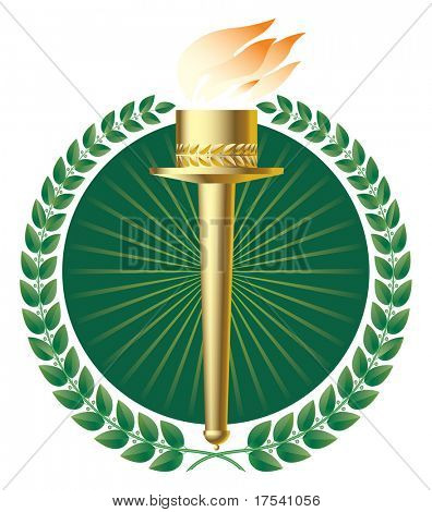 Raster version of vector green laurels and a gold torch (contain the Clipping Path of all objects)