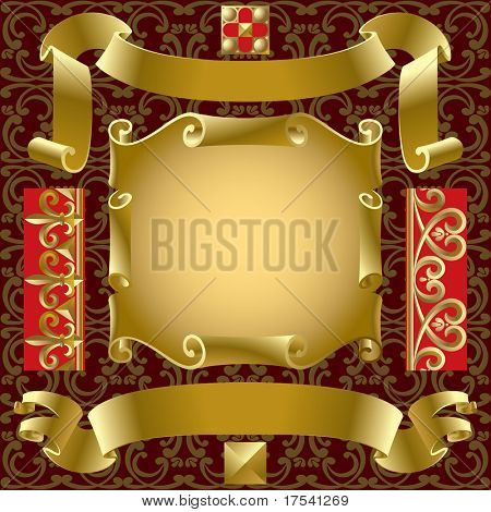Vector set of old gold banners with border elements on a background