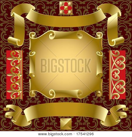 Raster version of vector set of old gold banners with border elements on a background (contain the Clipping Path of all objects)