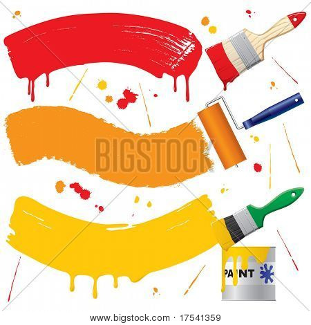 Vector painted banners & paint accessories