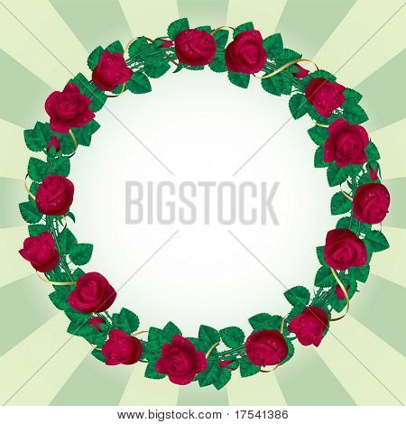 Vector round rose border with a gold ribbon