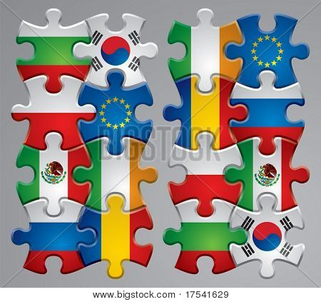 Isolated raster version of vector set of puzzle flag icons 3 (contain the Clipping Path of every object)