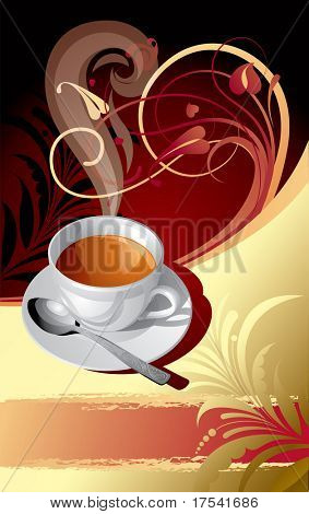 Vector gold classic background with a cup