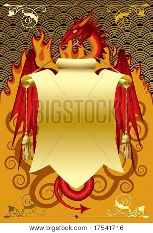 Red dragon with a gold banner. Vector illustration.