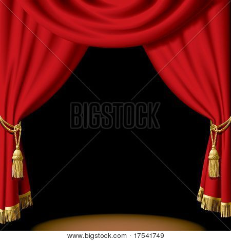 Isolated raster version of vector red curtain on black (contain the Clipping Path)