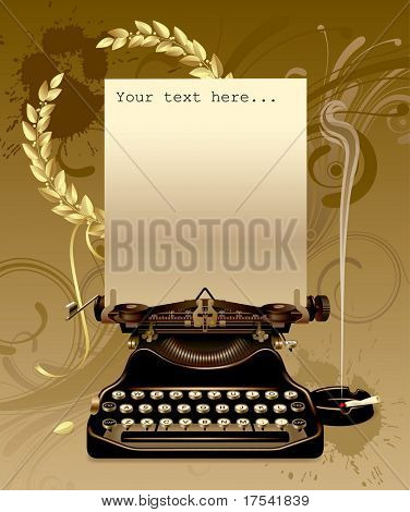 Vector old typewriter with gold laurels